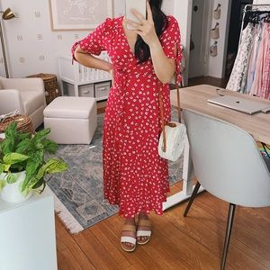 Red floral maternity wrap dress NWT